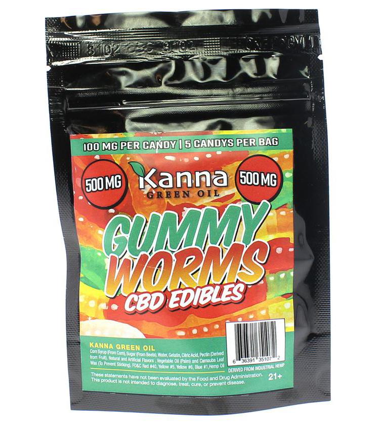 Kanna Green Oil CBD Gummies Gummy Worms - 500mg